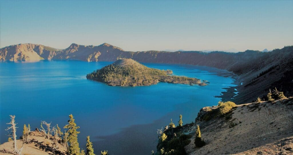 Deep blue color in Crater Lake